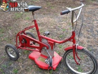 The Lawn Mowing Bicycle